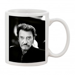 MUG Fan de ... Johnny Hallyday black and white