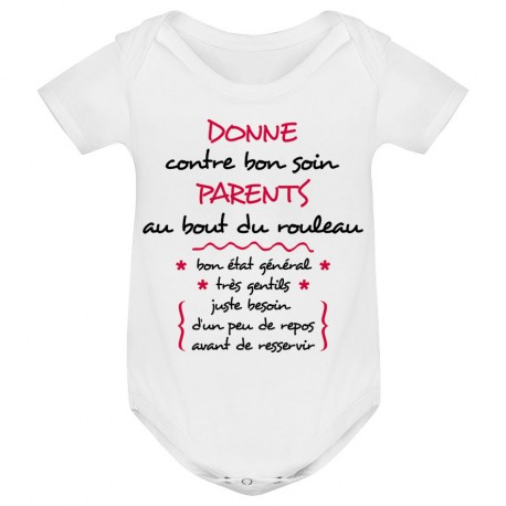 Body bébé Donne parents contre bon soin - blanc