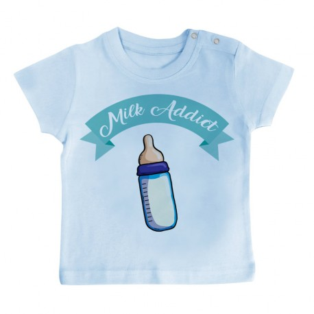 T-Shirt bébé Milk Addict - bleu