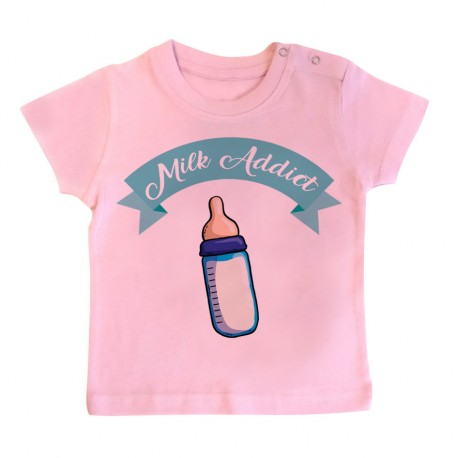 T-Shirt bébé Milk Addict - rose