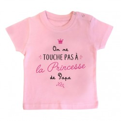 T-Shirt bébé On ne touche pas à la princesse de papa - rose