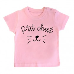 T-Shirt bébé P'tit chat - rose